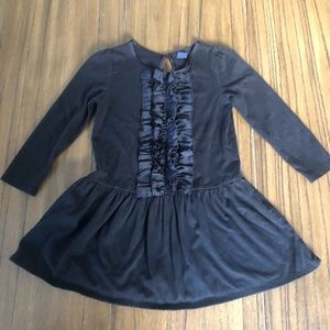 Baby GAP black long sleeve dress with ruffle front